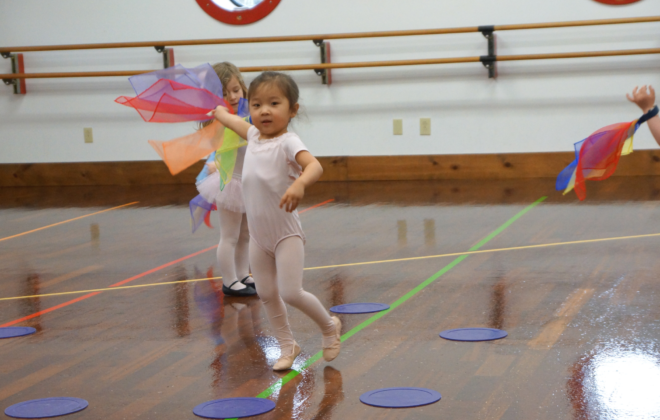 Toddler dancers enjoy Creative Movement class with scarves.