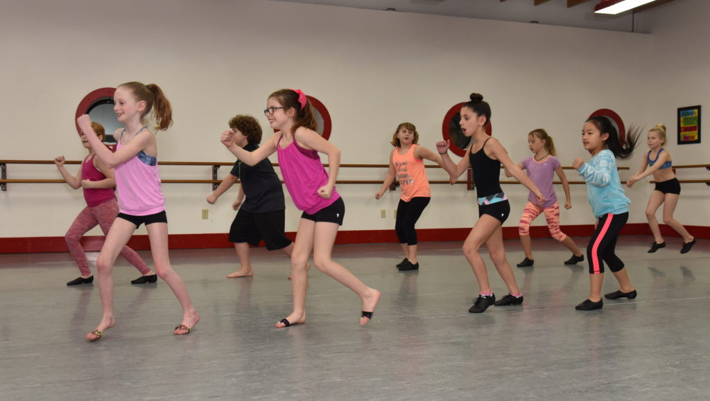 Students participating in a jazz class.