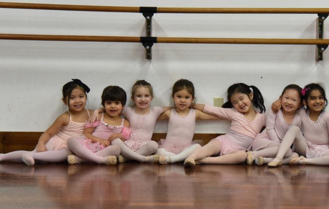 Preschool aged dancers take a Pre-Ballet class.