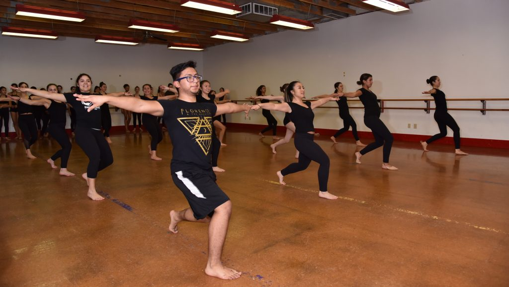 Teen dancers take jazz technique class